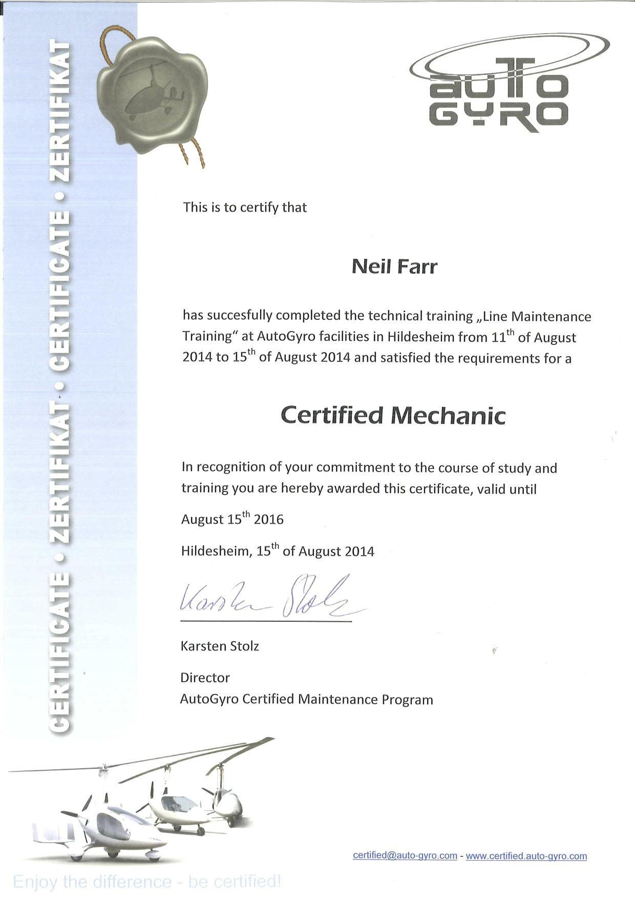 Neil certificate